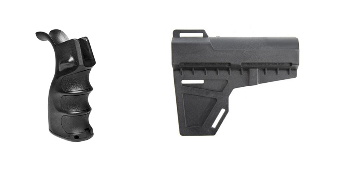 Custom Deal Omega Manufacturing AR-15 M4 Polymer Pistol Grip with Bottom Storage Compartment + KAK Blade Pistol Arm Stabilizer Brace BATF Approved