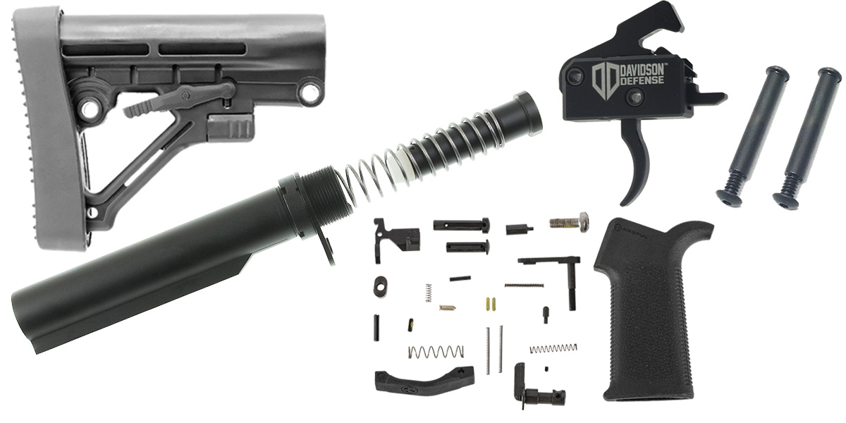 Lakota Ops Omega Stock AR-15 Enhanced Finish Your Rifle Lower Kit with Davidson Defense Drop In Trigger