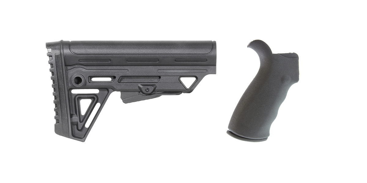 Custom Deal Omega Mfg. AR-15 Rear Beavertail grip, Rubberized Coating + Trinity Force Alpha Stock MK2 - Made in the USA