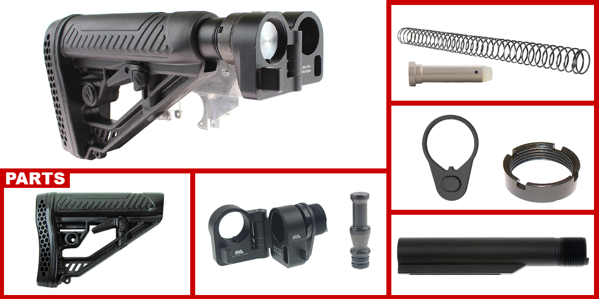 Custom Deals AR-15 Sylvan Arms Folding Stock Adapter + Adaptive Tactical AR-15 EX Performance Adjustable Stock