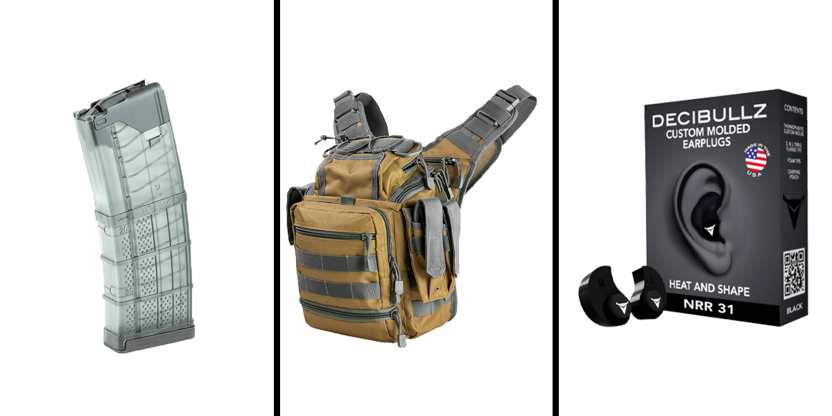 Custom Deal Range Ready Kit Ft. VISM Utility Bag - Tan w/Urban Gray + Decibullz Custom Molded Earplugs - Black + LANCER AR-15 .223REM/5.56 NATO 30RD Magazine