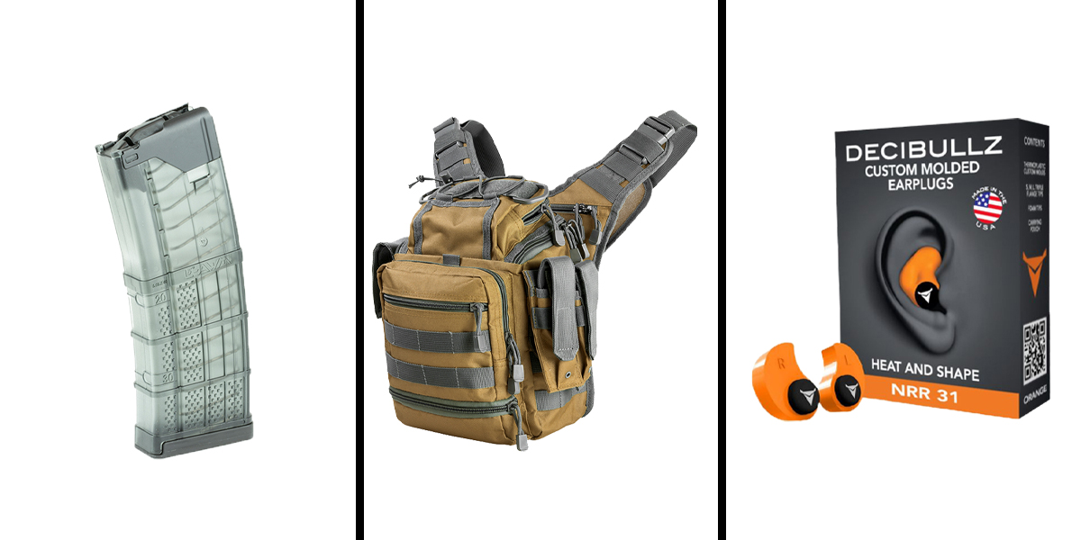 Custom Deal Range Ready Kit Ft. VISM Utility Bag - Tan w/Urban Gray + Decibullz Custom Molded Earplugs - Orange + LANCER AR-15 .223REM/5.56 NATO 30RD Magazine