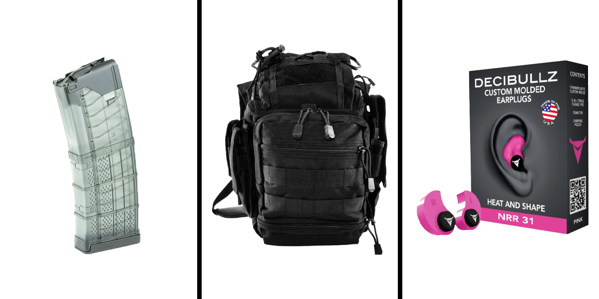Custom Deal Range Ready Kit Ft. VISM Utility Bag - Black + Decibullz Custom Molded Earplugs - Pink + LANCER AR-15 .223REM/5.56 NATO 30RD Magazine
