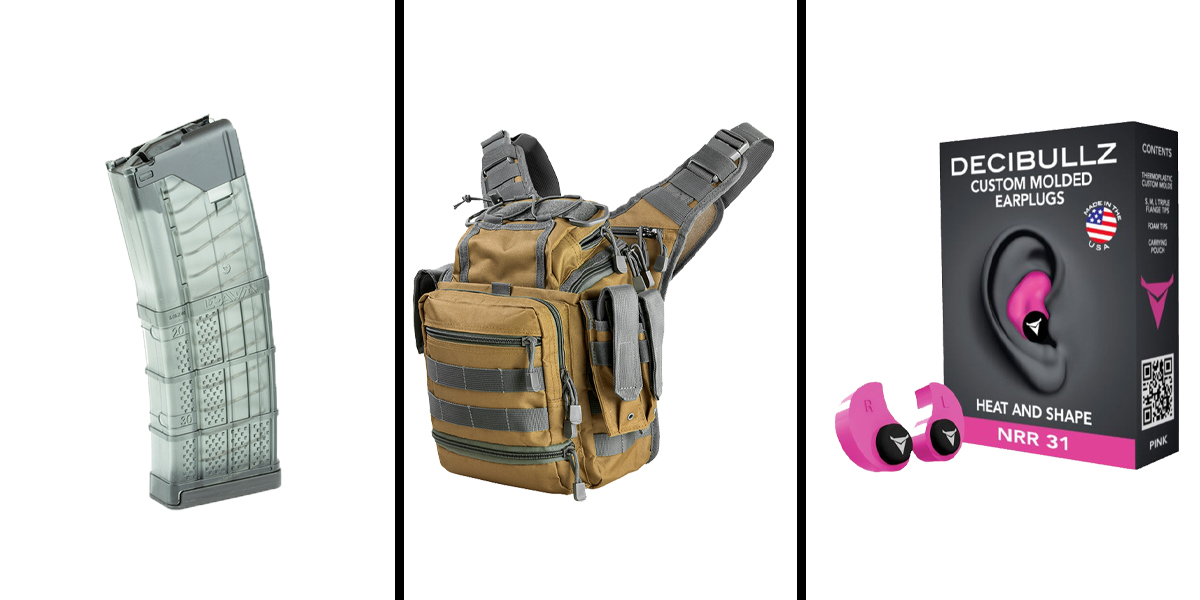 Custom Deal Range Ready Kit Ft. VISM Utility Bag -Tan w/Urban Gray + Decibullz Custom Molded Earplugs - Pink + LANCER AR-15 .223REM/5.56 NATO 30RD Magazine