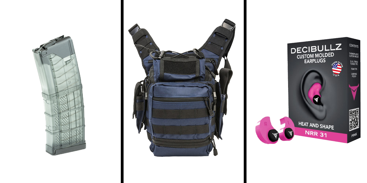 Custom Deal Range Ready Kit Ft. VISM Utility Bag - Blue + Decibullz Custom Molded Earplugs - Pink + LANCER AR-15 .223REM/5.56 NATO 30RD Magazine