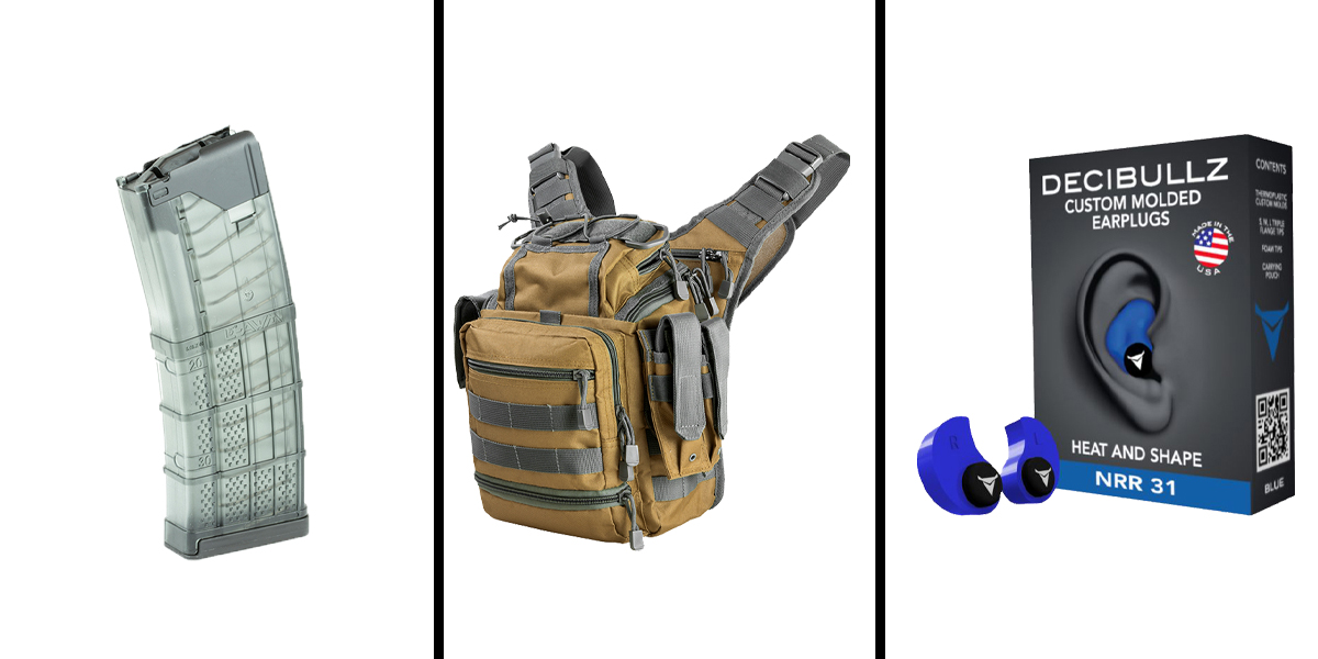 Custom Deal Range Ready Kit Ft. VISM Utility Bag - Tan w/Urban Gray + Decibullz Custom Molded Earplugs - Blue + LANCER AR-15 .223REM/5.56 NATO 30RD Magazine