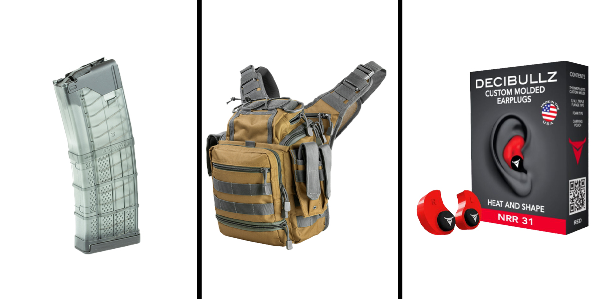 Custom Deal Range Ready Kit Ft. VISM Utility Bag - Tan w/Urban Gray + Decibullz Custom Molded Earplugs - Red + LANCER AR-15 .223REM/5.56 NATO 30RD Magazine