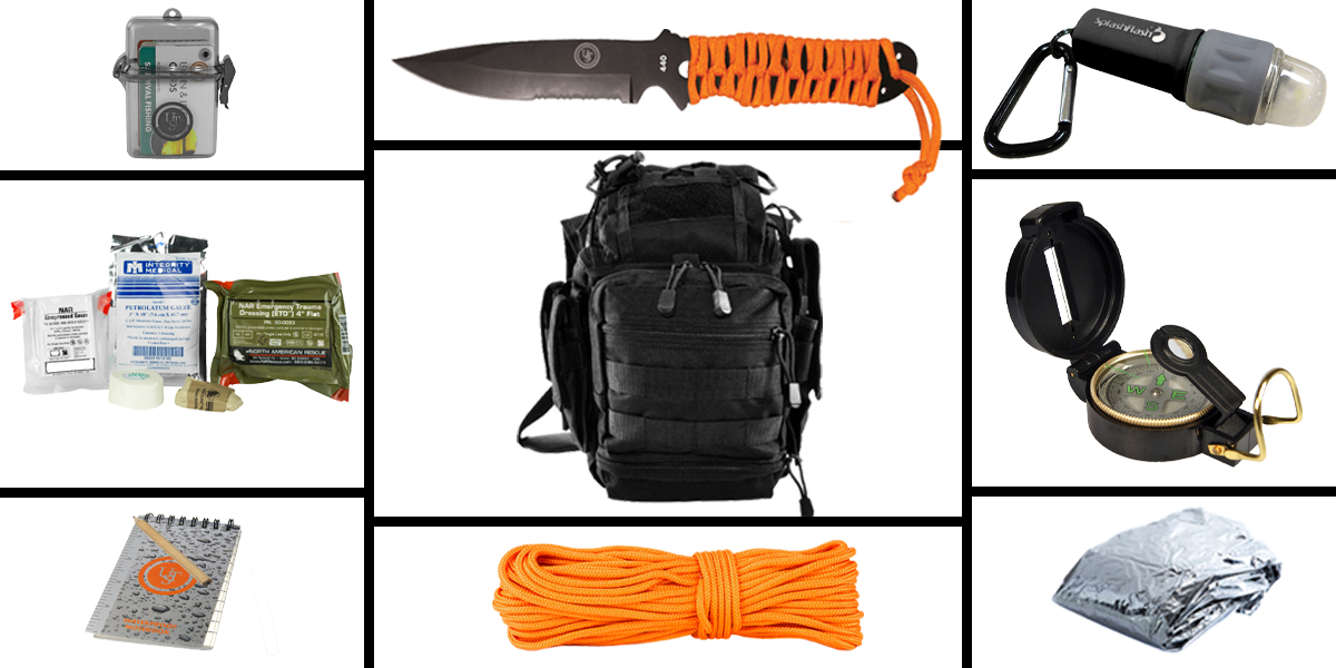 Custom Deal Preparedness Pack Featuring: VISM First Responders Utility Bag - Black, First Aid Kit, Knife, Light, Outdoor Skills Pocket Reference Guides, Waterproof Note Pad, Emergency Space Poncho, Compass, and 50' of Paracord