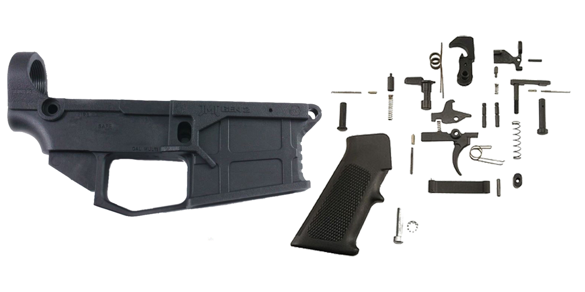 Custom Deal AR-15 80% Lower Build Kit featuring JMT Equalizer 80% Polymer Lower with Jig +  KAK Industries Complete Mil-Spec Lower Parts Kit (LPK)