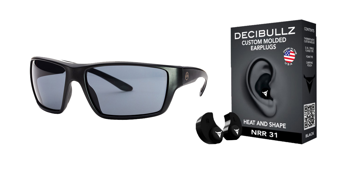 Custom Deals Shooter Safety Packs Featuring Decibullz Custom Molded Earplugs - Black + Magpul Terrain Glasses - Matte Black