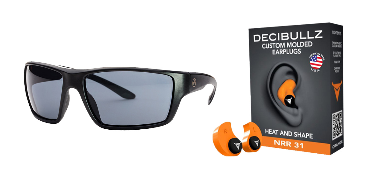 Custom Deals Shooter Safety Packs Featuring Decibullz Custom Molded Earplugs - Orange + Magpul Terrain Glasses - Matte Black