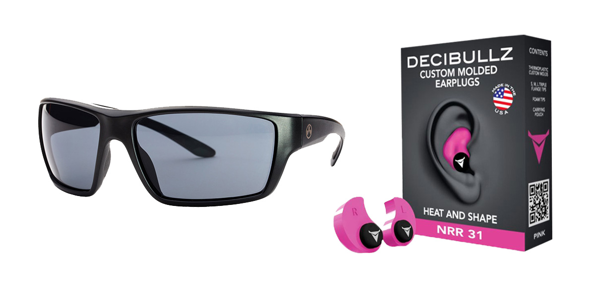 Custom Deals Shooter Safety Packs Featuring Decibullz Custom Molded Earplugs - Pink + Magpul Terrain Glasses - Matte Black