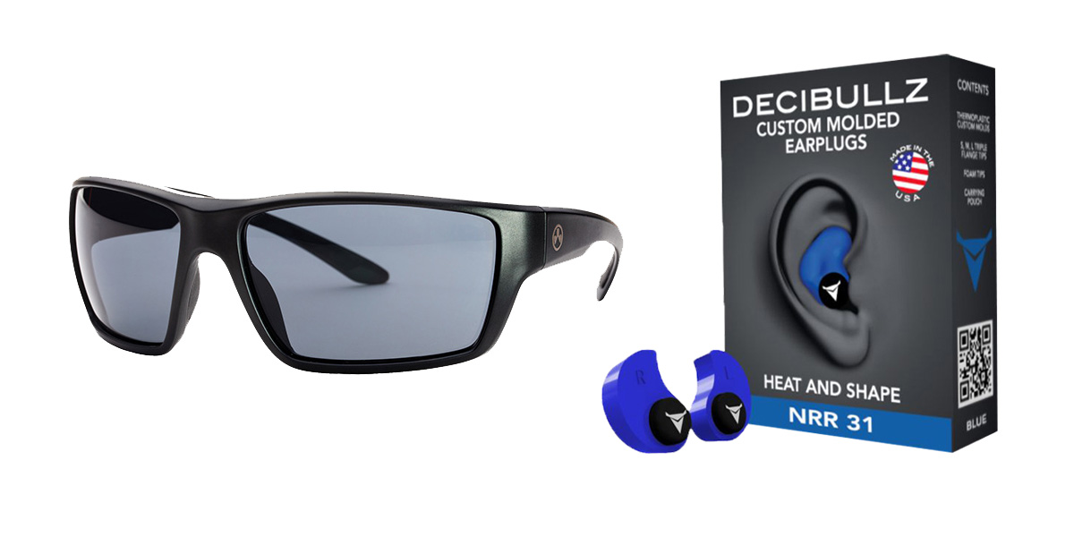 Custom Deals Shooter Safety Packs Featuring Decibullz Custom Molded Earplugs - Blue + Magpul Terrain Glasses - Matte Black