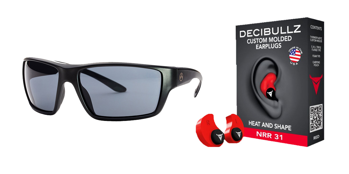 Custom Deals Shooter Safety Packs Featuring Decibullz Custom Molded Earplugs - Red + Magpul Terrain Glasses - Matte Black
