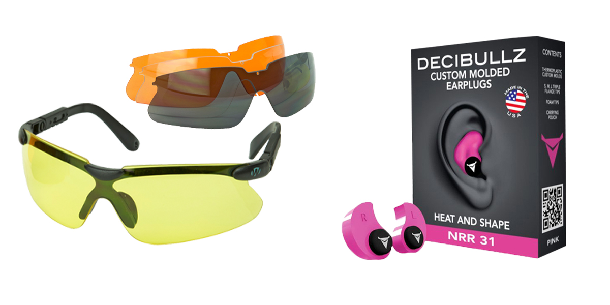 Custom Deal Shooter Safety Packs Featuring Decibullz Custom Molded Earplugs - Pink + Walker's, Glasses, Smoke Gray, Amber, Yellow, and Clear Lens Kit Included, 1 Pair