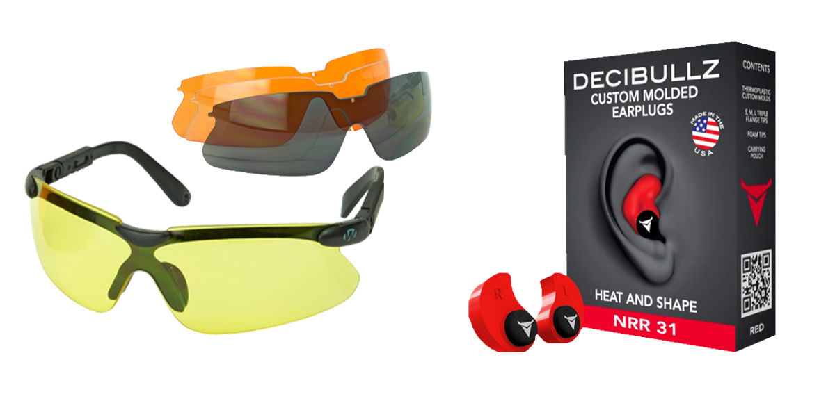 Custom Deal Shooter Safety Packs Featuring Decibullz Custom Molded Earplugs - Red + Walker's, Glasses, Smoke Gray, Amber, Yellow, and Clear Lens Kit Included, 1 Pair