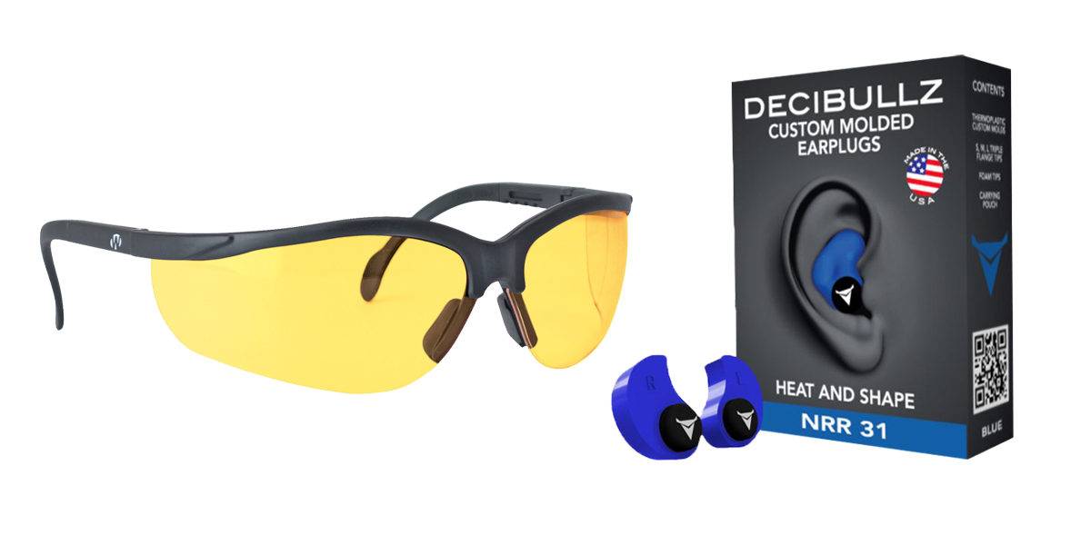 Custom Deal Shooter Safety Packs Featuring Decibullz Custom Molded Earplugs - Blue + Walker's, Glasses, Yellow, 1 Pair