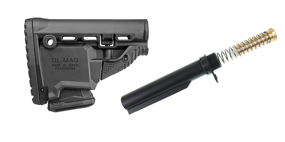 Custom Deal FAB Defense AR-15 Survival Buttstock w/Built-in Mag Carrier - Black + Omega Mfg. Mil-Spec Buffer Tube Kit