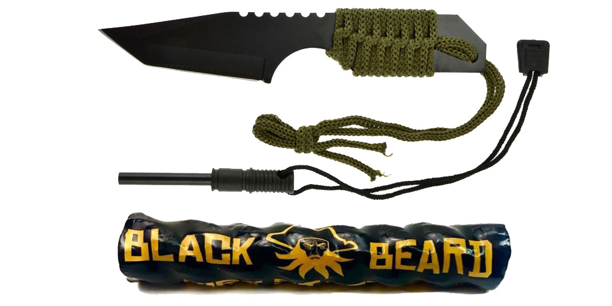 Custom Deal Black Beard Fire Starter + GS Knife Co. Mini Hunting Knife with Fire Starter Full Length 7