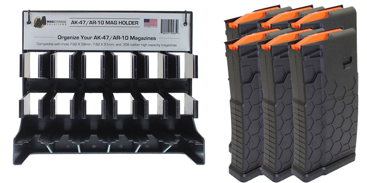 Custom Deal LR-308 MagStorage Solutions AK-47/AR-10 Magazine Holder + 6 - HEXMAG .308 Win/7.62 NATO Magazines
