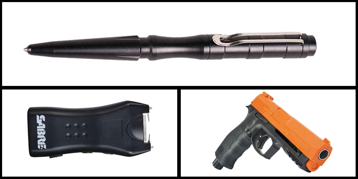 Custom Deal Less Lethal Combo Sabre Mini Stun Gun + Pepper Ball Air Pistol + Tactical Pen, Black