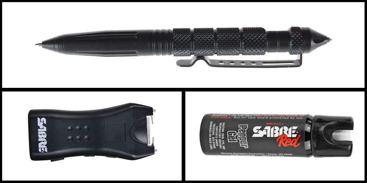 Custom Deal Less Lethal Combo Sabre Self Defense Pepper Gel + Sabre Mini Stun Gun + Heavy Duty Tactical Pen