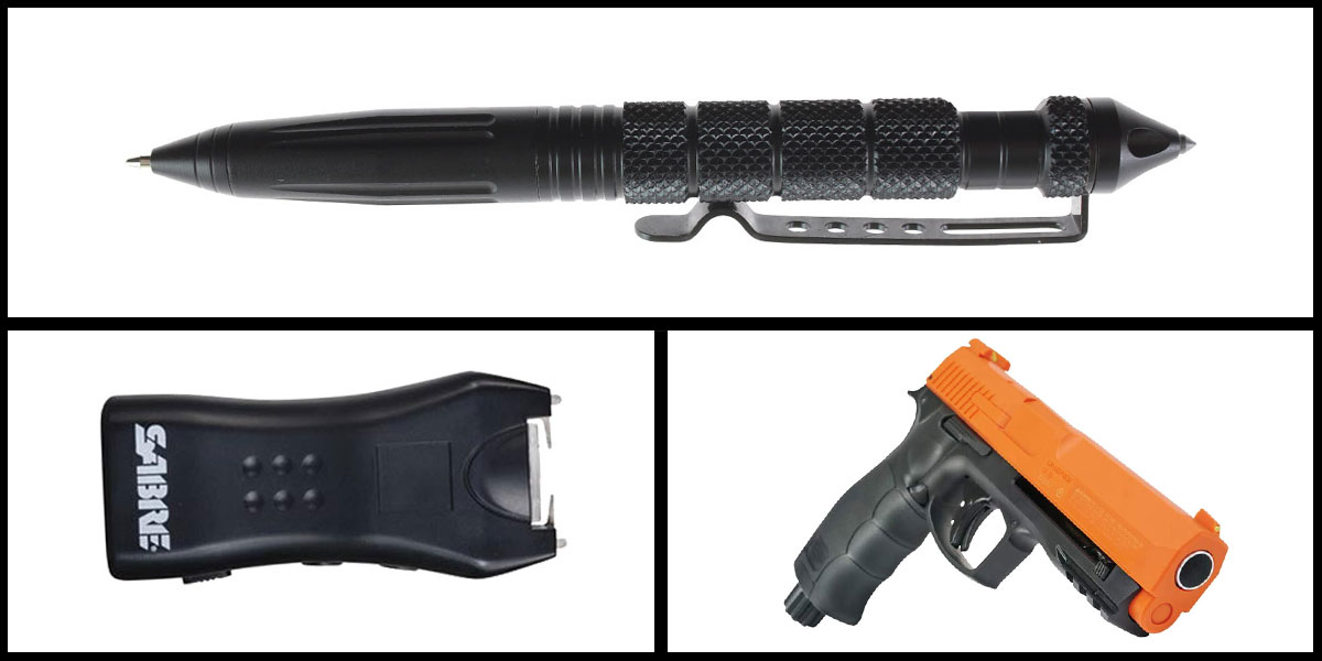 Custom Deal Less Lethal Combo Sabre Mini Stun Gun + Pepper Ball Air Pistol + Heavy Duty Tactical Pen