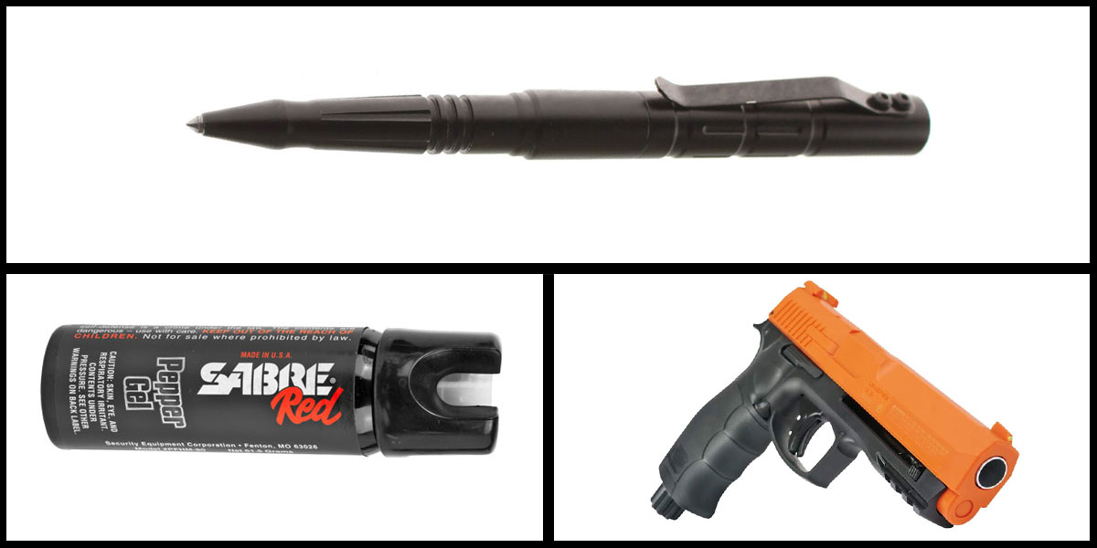 Custom Deal Less Lethal Combo Sabre Self Defense Pepper Gel + Pepper Ball Air Pistol + Tactical Glass Breaker w/ Pen