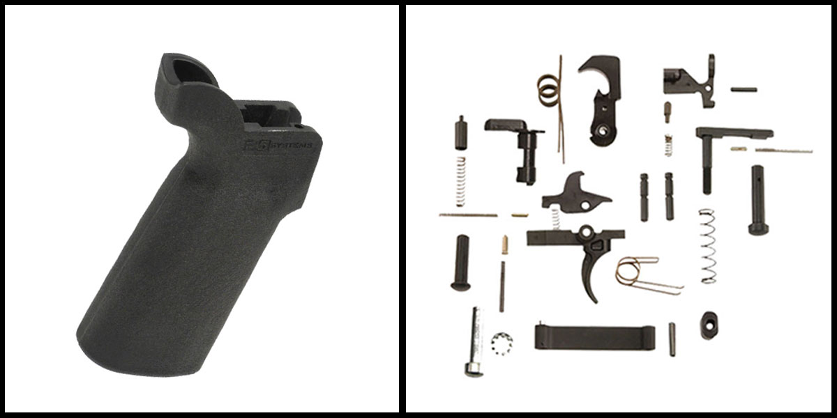 Custom Deal KAK AR-15 Lower Parts Kit w/ no Grip + B5 Systems P-Grip - Black