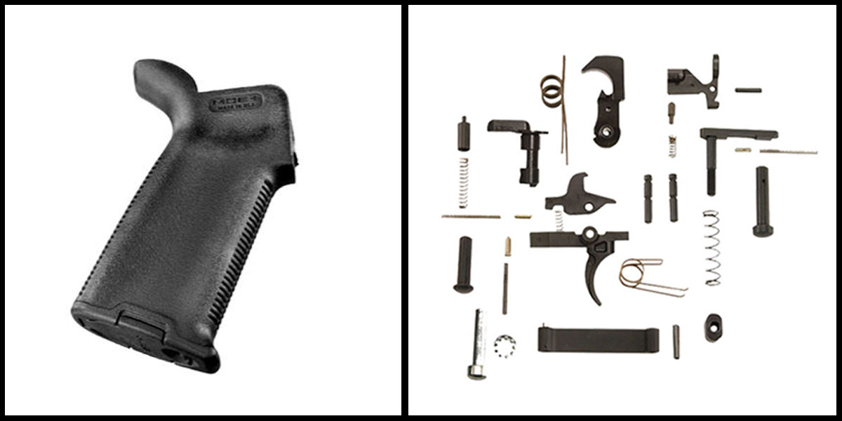 Custom Deal KAK AR-15 Lower Parts Kit w/ no Grip + Magpul AR-15 MOE+ Grip - Black