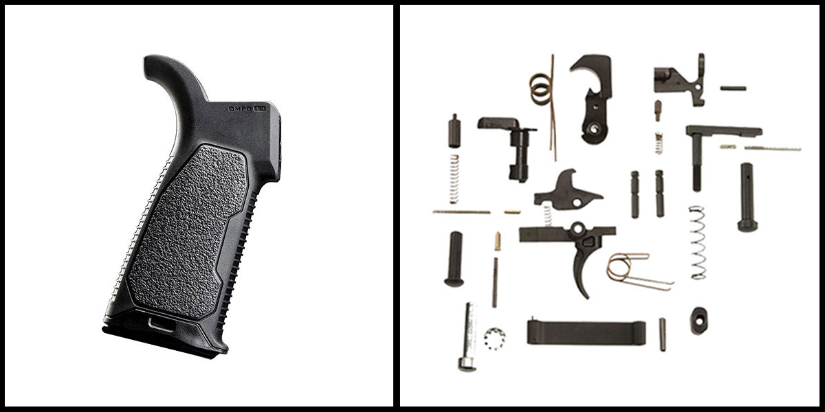 Custom Deal KAK AR-15 Lower Parts Kit w/ no Grip + Strike Industries Rubber Over-mold Pistol Grip