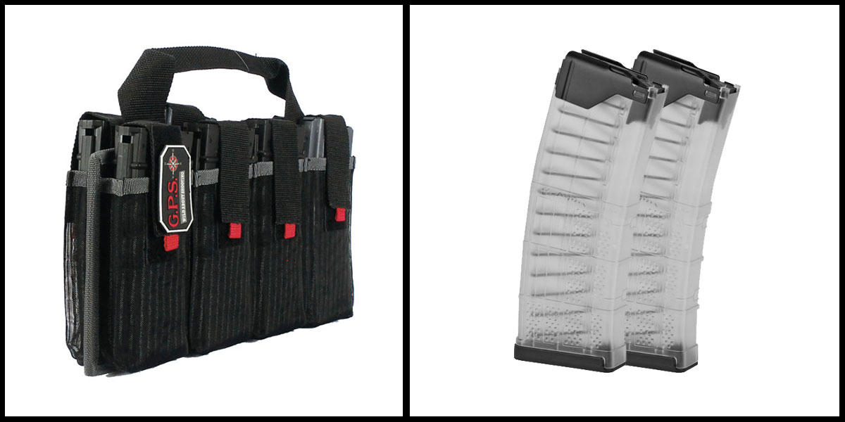 Custom Deal G-Outdoors Inc AR-15 Magazine Tote + Lancer L5 Advanced Warfighter Magazine - Clear x2