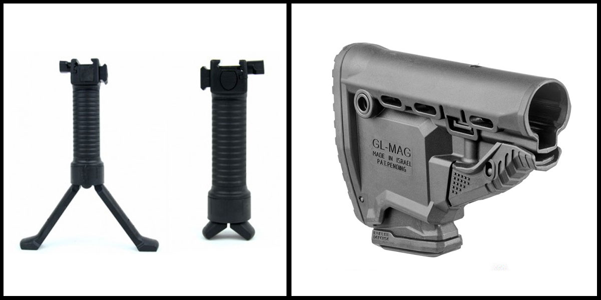 Custom Deal Lakota Ops Grip POD Tactical Foregrip & Bipod + FAB Defense AR-15 Survival Buttstock w/ Built in Mag Carrier