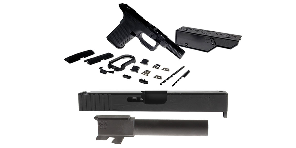 Custom Deal DIY Pistol Kits Featuring: Lone Wolf Frame G19/G23 + ELD Performance Slide G19 + Cold Hammer Forged Non-Threaded 9mm Barrel