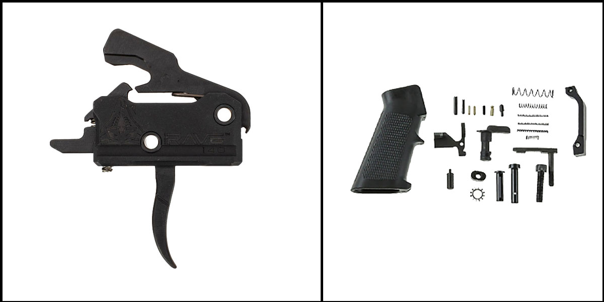 Custom Deal AR-15 Trigger Upgrade Kit Including RISE Armament Rave 140 Curved Trigger w/Anti-Walk Pins +