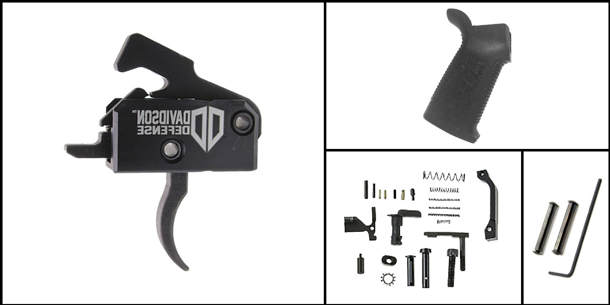 Custom Deal AR-15 Trigger Upgrade Kit Including Rise Armament Trigger + CMMG Lower Parts Kit + Spikes Tactical Pro Grip + Davidson Defense Anti Walk Pins