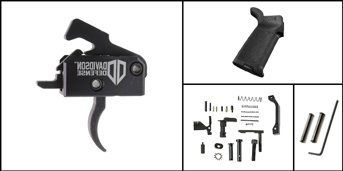 Custom Deal AR-15 Trigger Upgrade Kit Including Rise Armament Trigger + CMMG Lower Parts Kit + Magpul MOE Grip + Davidson Defense Anti Walk Pins
