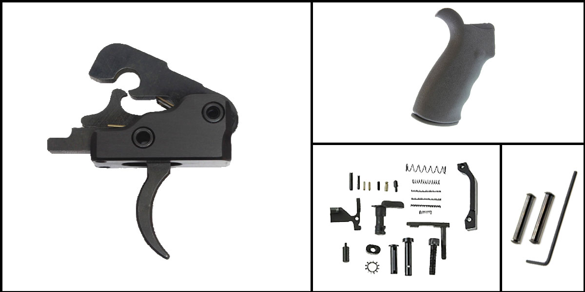 Custom Deal AR-15 Trigger Upgrade Kit Including Davidson Defense Trigger + CMMG Lower Parts Kit + Omega Mfg. Beavertail Grip + Davidson Defense Anti Walk Pins