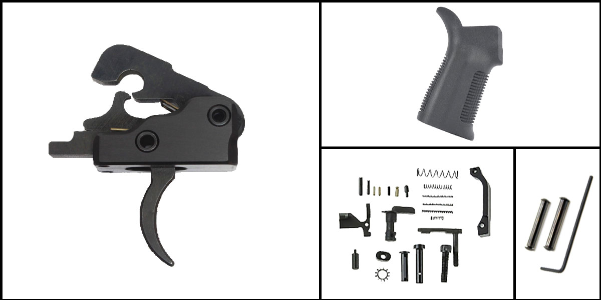 Custom Deal AR-15 Trigger Upgrade Kit Including Davidson Defense Trigger + CMMG Lower Parts Kit + Trinity Force 17 Degree Grip + Davidson Defense Anti Walk Pins