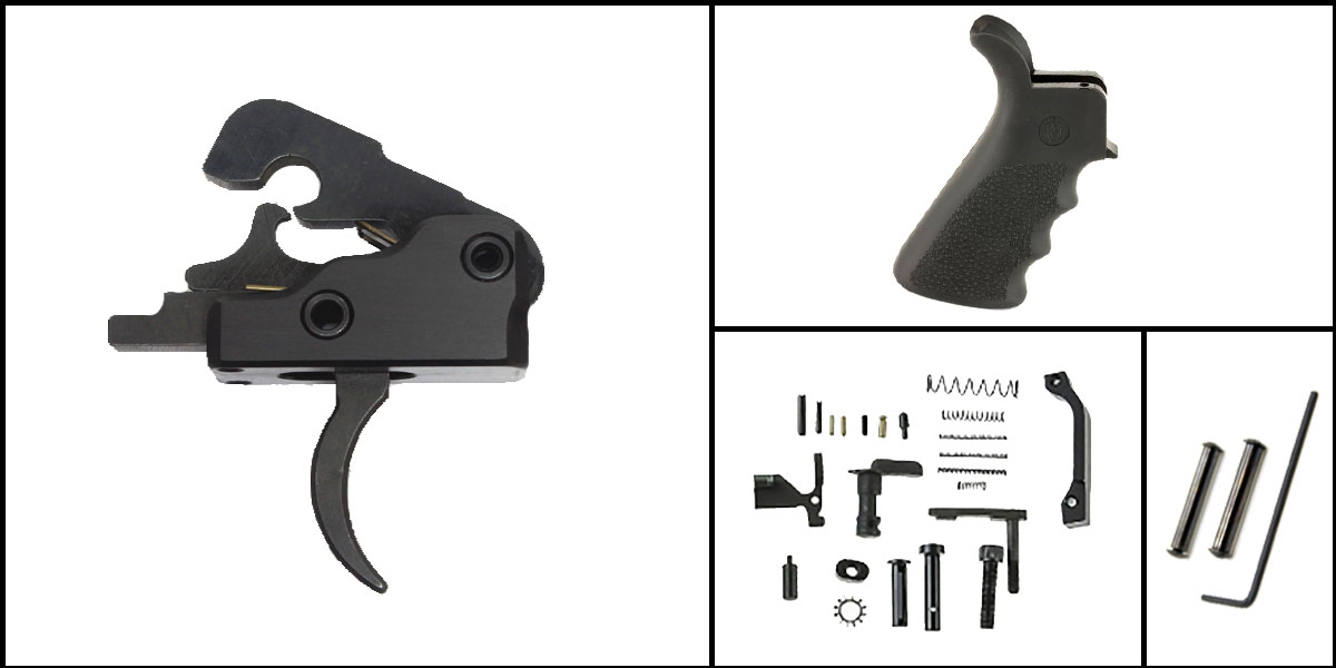 Custom Deal AR-15 Trigger Upgrade Kit Including Davidson Defense Trigger + CMMG Lower Parts Kit + Hogue Beavertail Grip + Davidson Defense Anti Walk Pins