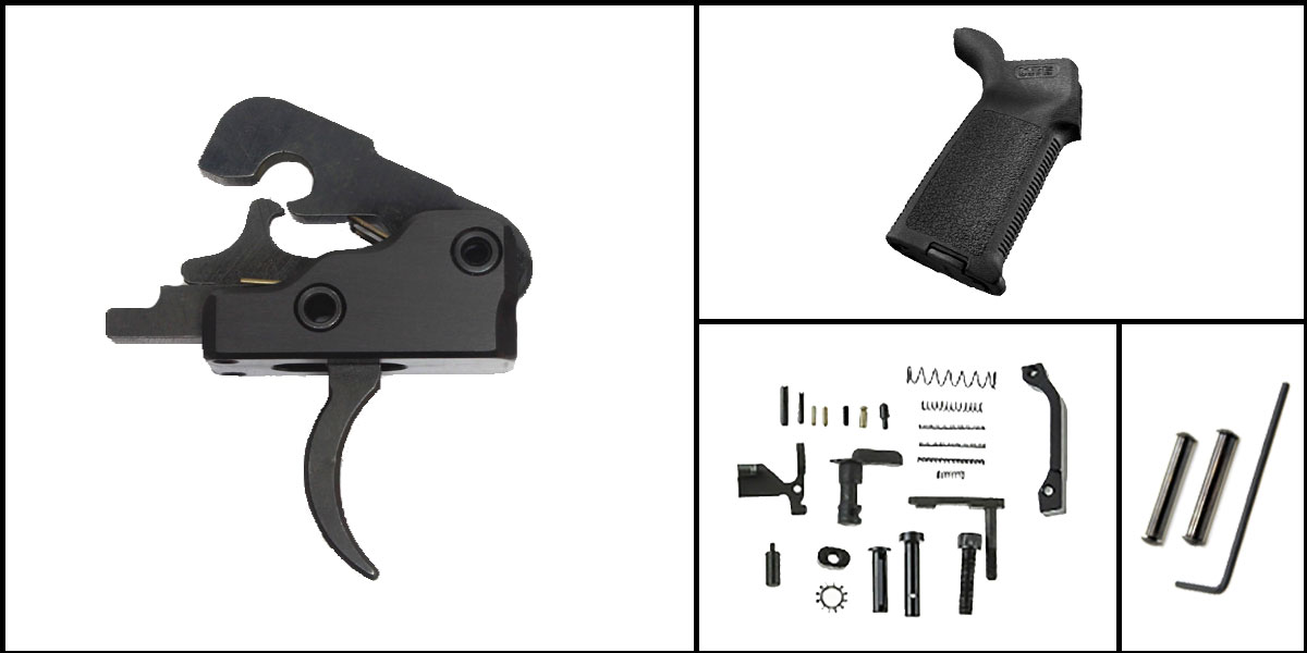 Custom Deal AR-15 Trigger Upgrade Kit Including Davidson Defense Trigger + CMMG Lower Parts Kit + Magpul MOE Grip + Davidson Defense Anti Walk Pins