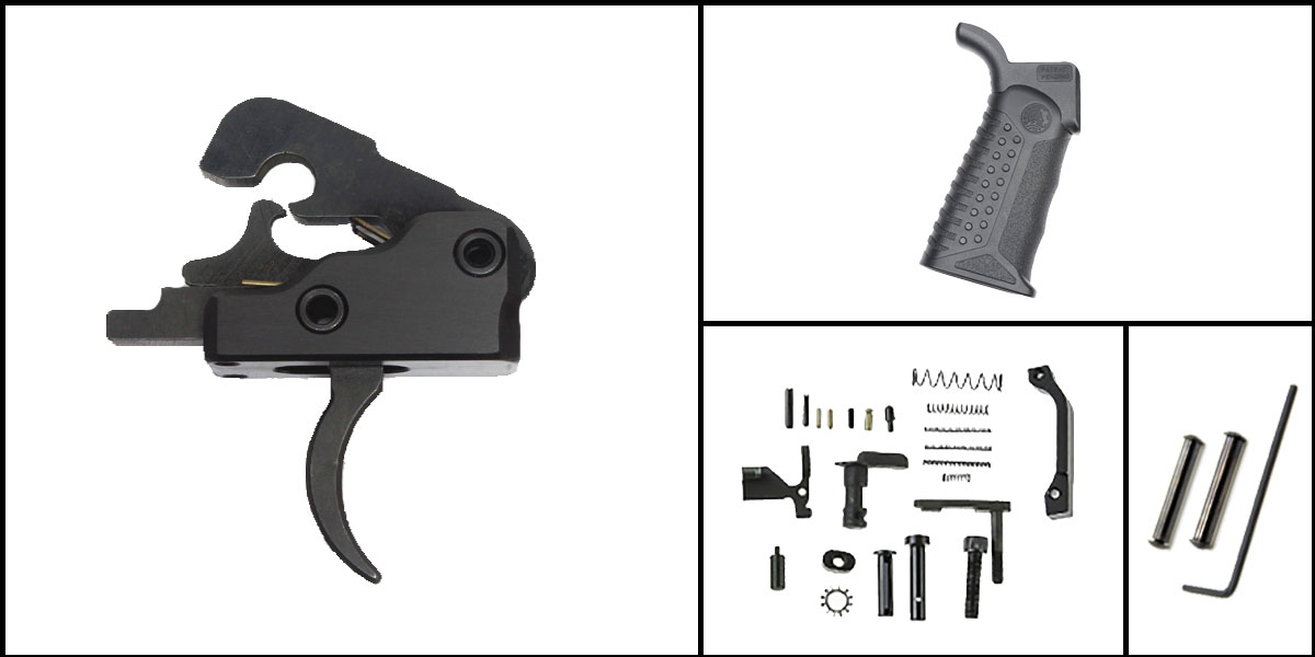 Custom Deal AR-15 Trigger Upgrade Kit Including Davidson Defense Trigger + CMMG Lower Parts Kit + Battle Arms Development Tactical Grip + Davidson Defense Anti Walk Pins
