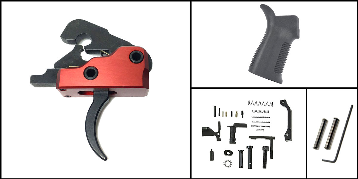 Custom Deal AR-15 Trigger Upgrade Kit Including Davidson Defense Red Trigger + CMMG Lower Parts Kit + Trinity Force 17 Degree Grip + Davidson Defense Anti Walk Pins