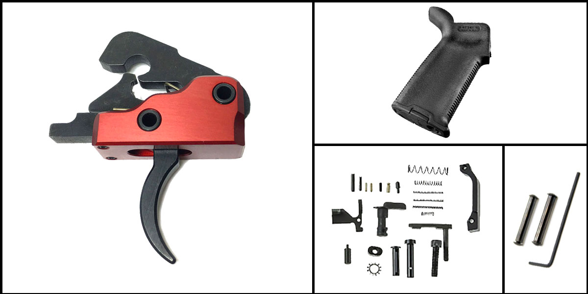 Custom Deal AR-15 Trigger Upgrade Kit Including Davidson Defense Red Trigger + CMMG Lower Parts Kit + Magpul MOE+ Grip + Davidson Defense Anti Walk Pins