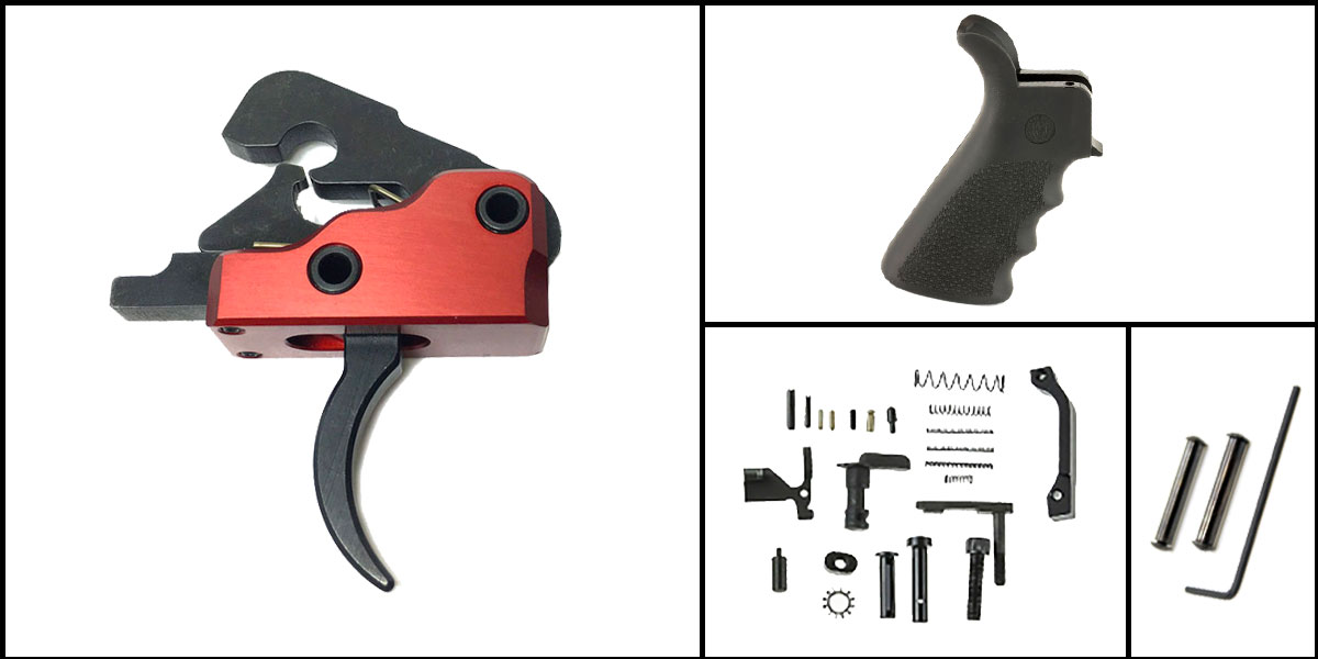 Custom Deal AR-15 Trigger Upgrade Kit Including Davidson Defense Red Trigger + CMMG Lower Parts Kit + Hogue Beavertail Grip + Davidson Defense Anti Walk Pins
