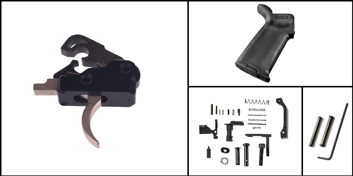 Custom Deal AR-15 Trigger Upgrade Kit Including Davidson Defense Nickel Boron Trigger + CMMG Lower Parts Kit + Magpul MOE+ Grip + Davidson Defense Anti Walk Pins