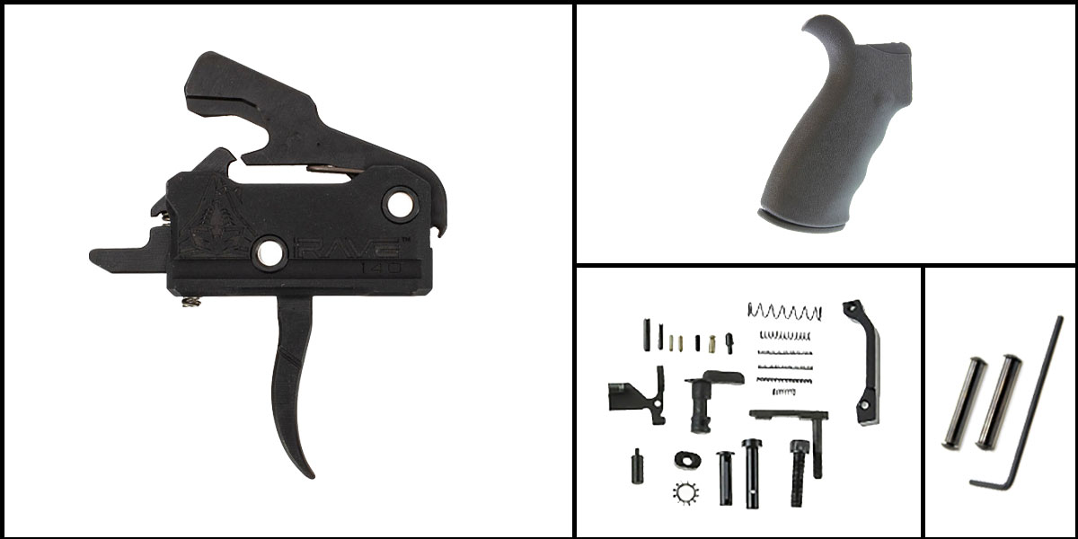 Custom Deal AR-15 Trigger Upgrade Kit Including Rise Armament Flat Trigger + CMMG Lower Parts Kit + Omega Mfg. Beavertail Grip