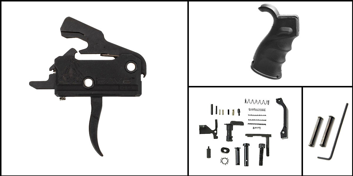 Custom Deal AR-15 Trigger Upgrade Kit Including Rise Armament Flat Trigger + CMMG Lower Parts Kit + JE Machine Pistol Grip