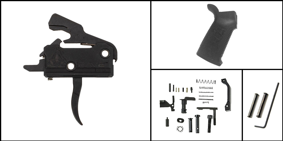 Custom Deal AR-15 Trigger Upgrade Kit Including Rise Armament Flat Trigger + CMMG Lower Parts Kit + Spikes Tactical Pro Grip