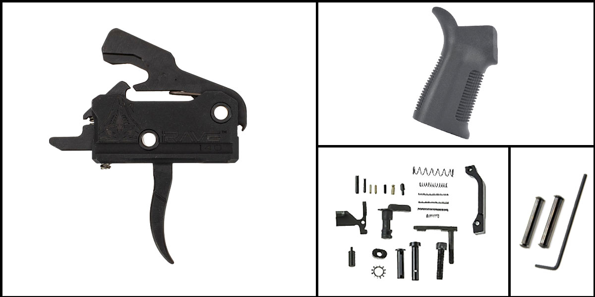 Custom Deal AR-15 Trigger Upgrade Kit Including Rise Armament Flat Trigger + CMMG Lower Parts Kit + Trinity Force 17 Degree Grip